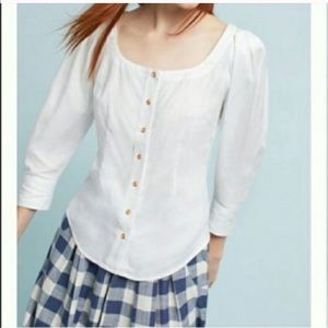 Maeve by Anthropologie white puffy sleeve top